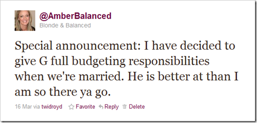 tweet announcing G as budgeter