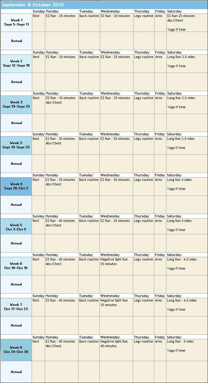 september october 2010 workouts