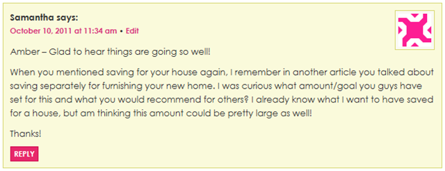 Samantha New Home Comment