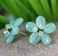 Novica blue flower earrings